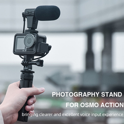 Aluminum Cage +Tripod + Vlogging Microphone Set for DJI OSMO Action Accessories Outdoor Hiking Sightseeing Supply
