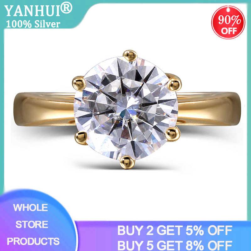 YANHUI 925 Solide Silber 18K Gold Farbe Ring Klassische 2ct Zirkonia Diamant Schmuck, Verlobung, Hochzeit Ring Mode Ringe Für frauen