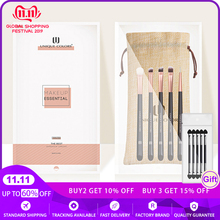 Basic Makeup Brush Set 5pcs Essential Eye Brush Set Eyeshadow Eyeliner Eyebrow Blending Rose gold Make Up Brush Travel Brush Set
