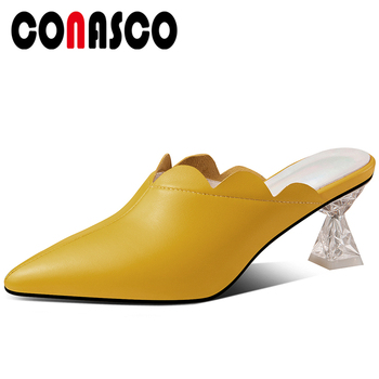 CONASCO Summer New Fashion Concise Casual Genuine Leather Women Sandals Mules Slippers Pumps Ruffles High Heels Shoes Woman