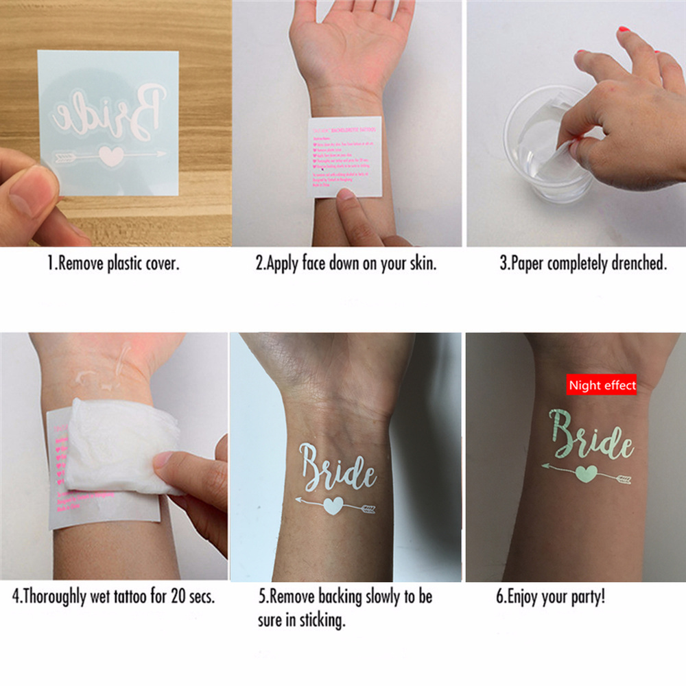 10pcs Wedding Decoration Bride To Be Temporary Tattoos Stickers Bridal Shower Party Supplies Team Bride Bachelorette Hen Party Q in Party DIY Decorations from Home Garden