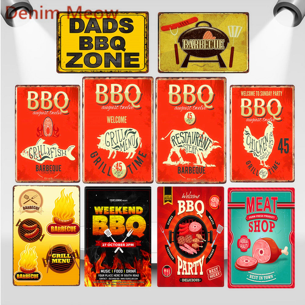 RETRO METAL WALL SIGN TIN VINTAGE COW CUTS BEEF KITCHEN BBQ DAD GIFT BUTCHER