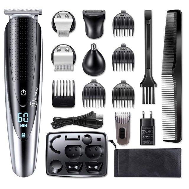 HATTEKER Professional Hair Clipper for Men Rechargeable electric razor 5 in 1 Hair Trimmer hair cutting machine beard trimer 598