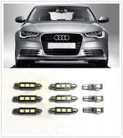 9PCS White LED Interior Package kit For AUDI  Q3 Q7  Q5 (8R))A1 A3 A4 A6  Map Dome door  Tag Lights