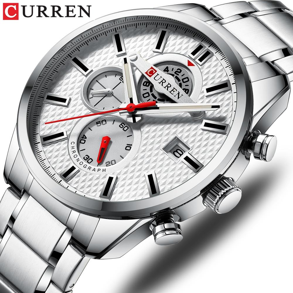 Relógio de Negócios Cronógrafo e Data Banda de Aço Relógio de Pulso de Quartzo Curren Luxo Masculino Automática Inoxidável Esportes Causais