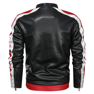 Image 5 - NEGIZBER Mens Leather Casual Fashion Long Sleeve Stand Collar Leather Joker Contrast Leather Men