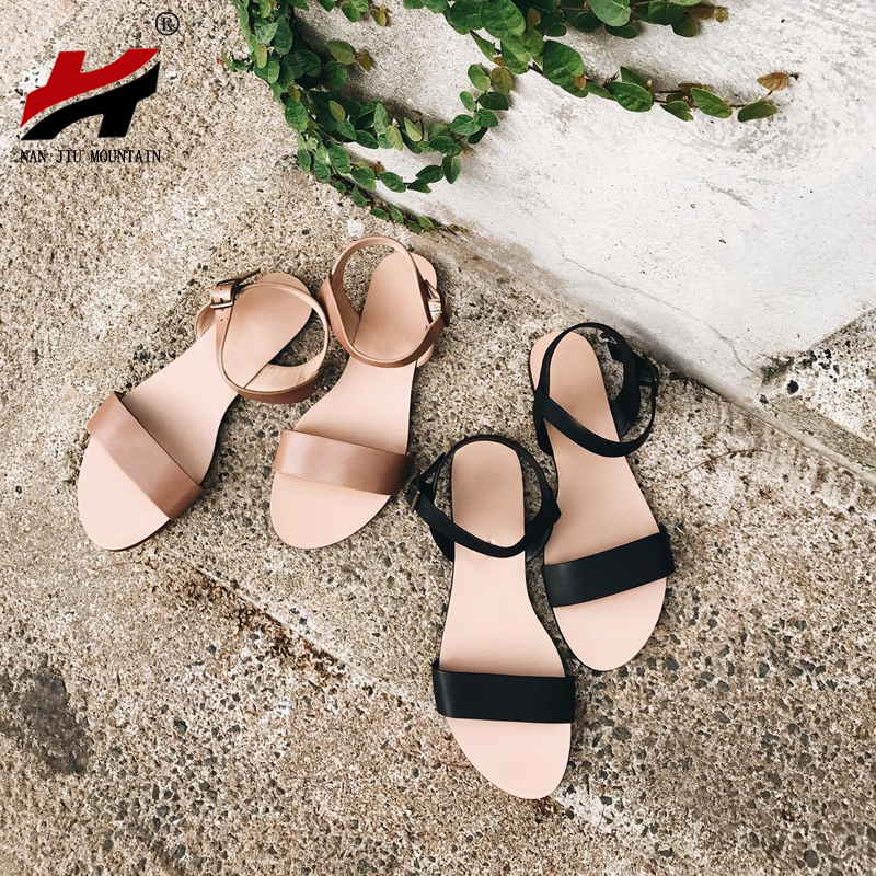 NAN JIU MOUNTAIN Summer Flat Sandals Women Genuine Leather Simple Bright Color Buckle Studded Beach Shoes Plus Size