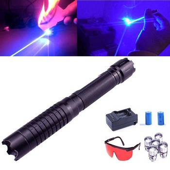 Most Powerful Blue Laser Pointer 450nm Focusable Burning Laser sight Pointers Hunting  burn match candle lit cigarette