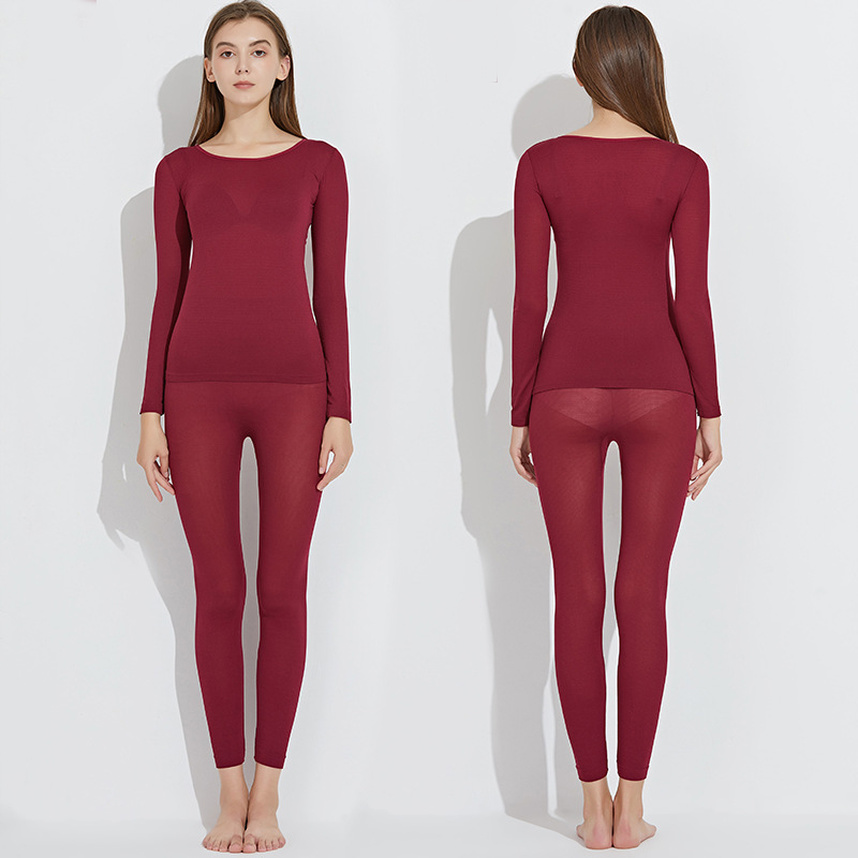 Halyuhn Women's Thermal Underwear Thin Section Set Winter Long John Second Skin Winter Ladies Warm Clothes Thermal Long Sleeve