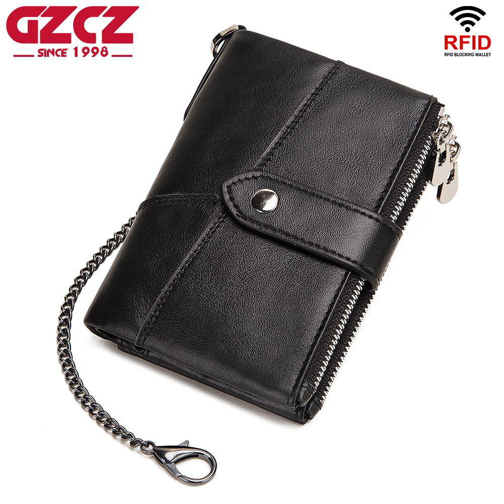 GZCZ Rfid Genuine Leather Rfid Men Wallet PORTFOLIO Wallets Chain Coin Purse Short Male Money Bag Card Holder Small portomonee