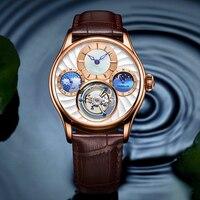 Tourbillon relógio de safira esqueleto automático relógio mecânico multifuncional 24 horas fase da lua masculino relógios marca superior luxo