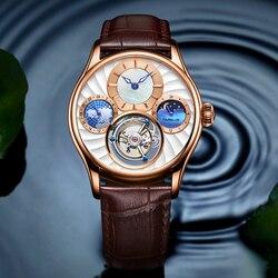 Tourbillon szafirowy zegarek szkielet automatyczne zegar mechaniczny wielofunkcyjny 24 godziny faza księżyca męskie zegarki Top marka luksusowe