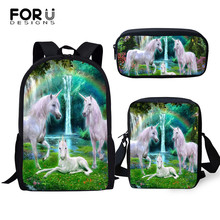 FORUDESIGNS Kids School Bags Fantasy Colorful Horse Pattern