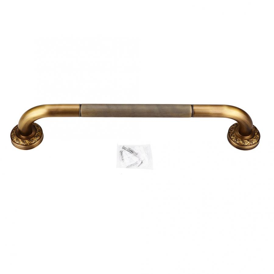 Suction Cup Handle Rails Antique Style Brass Carved Bathroom Shower Wall Grab Bar Safety Grip Handrail BT Bathroom Accessory