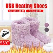 Зима USB Электрический Отопление Плюшевые Отопление Обувь В помещении И На улице Теплый Хлопок Обувь Для Мужчин И Женщин