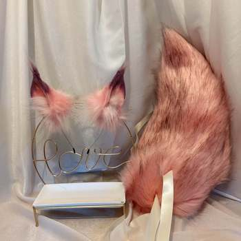 New Peach Pink Wolf Fox Ears Hair Hoop  Tail Set Hand Made Work For KC Cosplay Party Game Costume Accessories Custom Made anime cosplay props fox ears and tail set spice and wolf holo plush long fur neko ears tail party halloween costume accessories