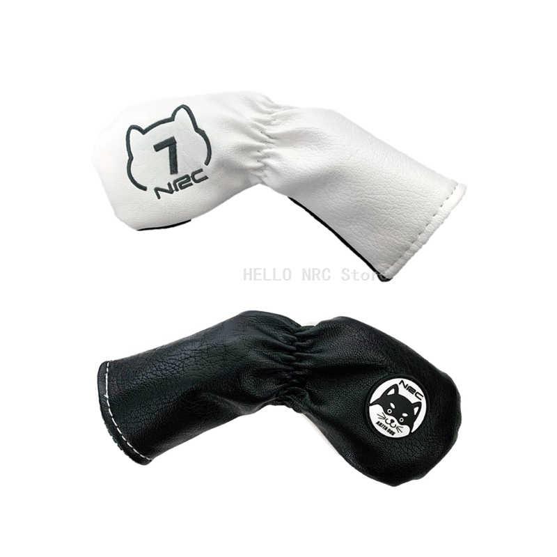 Чехол Golf Iron Cover 9 шт./компл. из ПУ кожи водонепроницаемый № 4/5/6/7/8/9/P/S/A защитный белый черный AKITA DOG