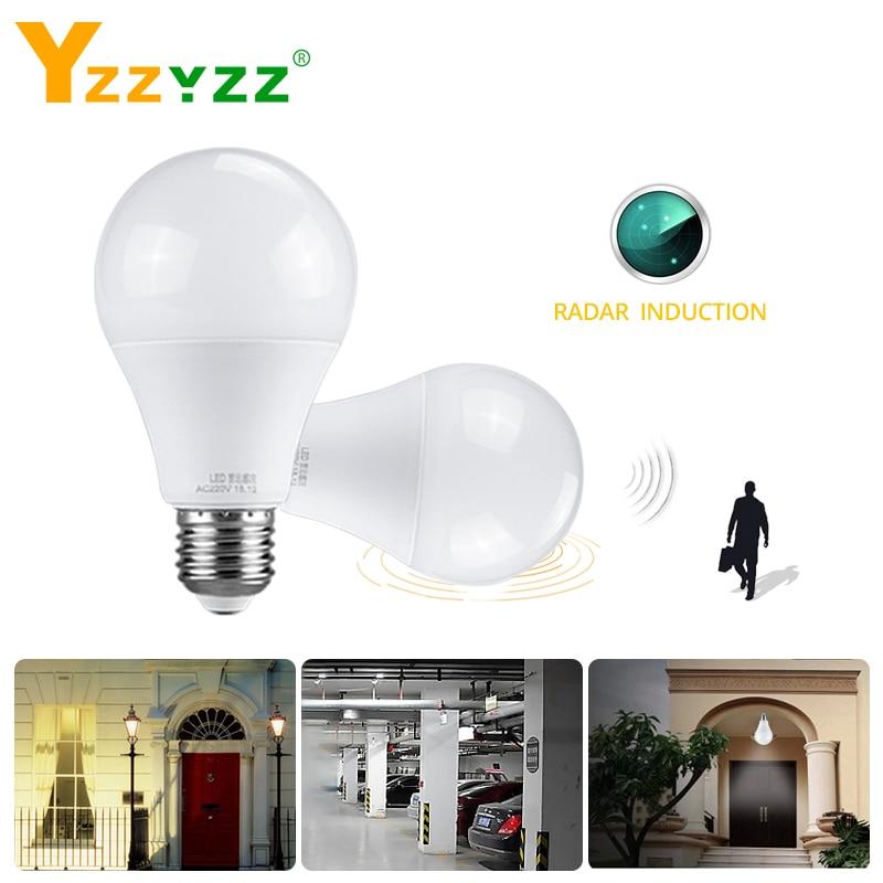 E27 Radar PIR Motion Night Light Sensor Bulb Emergency Lamp With 85-265V 10W 15W 20W 25W Sensor Light For Toile Stair Corridor