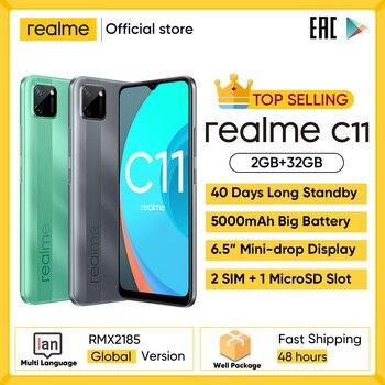 Realme c11 telefones celulares 6.5 polegada 5000mah bateria grande 40 dias de espera longa 3-slot para cartão android smartphone 13mp telefone da câmera 1