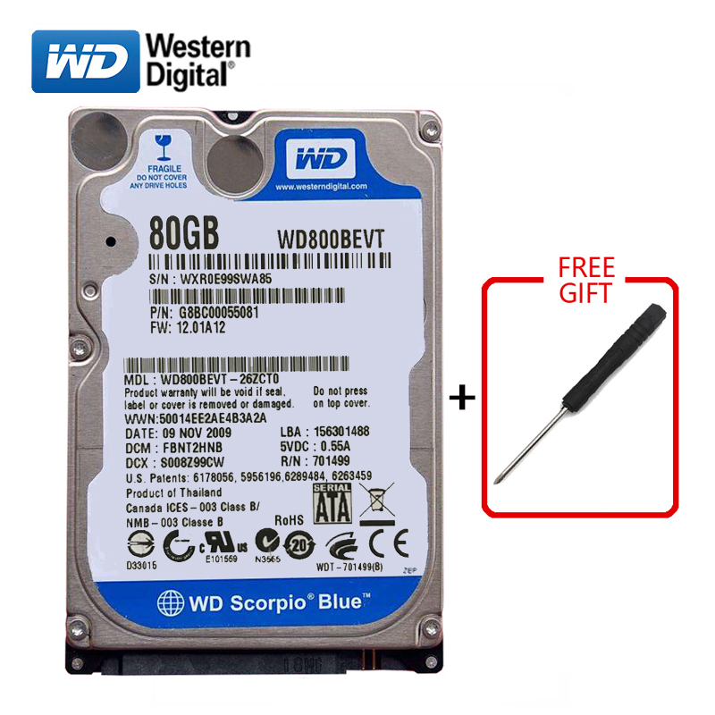 WD Brand 80Gb <font><b>HDD</b></font> 2.5