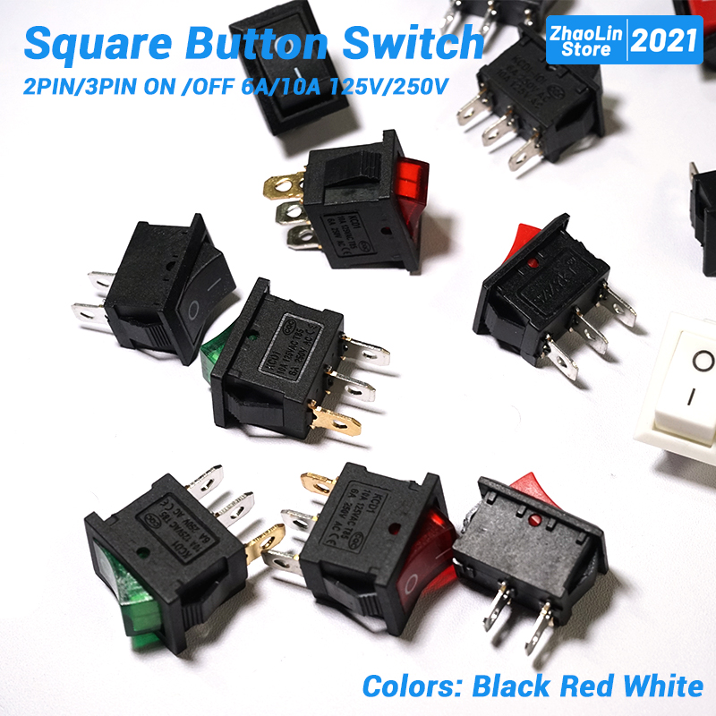 Square Button Switch For Boat Car Rocker Switch 2PIN/3PIN ON /OFF 6A/10A 125V/250V Black Red and White