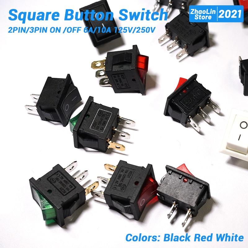 Interrupteur à bouton carré pour interrupteur à bascule de voiture de bateau 2PIN/3PIN ON /OFF 6A/10A 125V/250V noir rouge et blanc