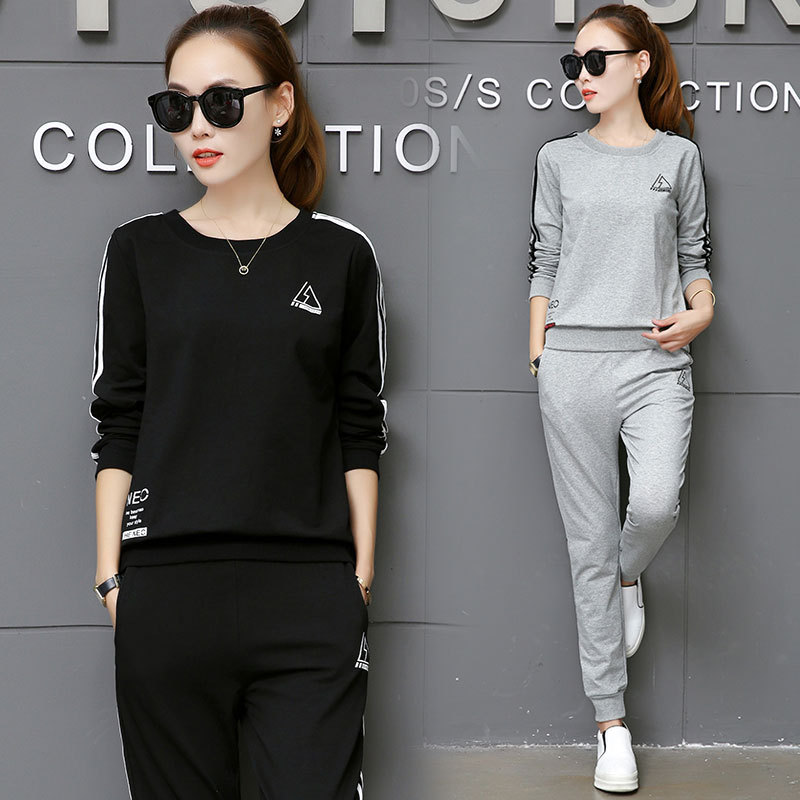 2019 Spring Winter Korean-style Long-sleeved Sweater + Trousers Casual Fashion & Sports WOMEN'S Suit Two-Piece Set