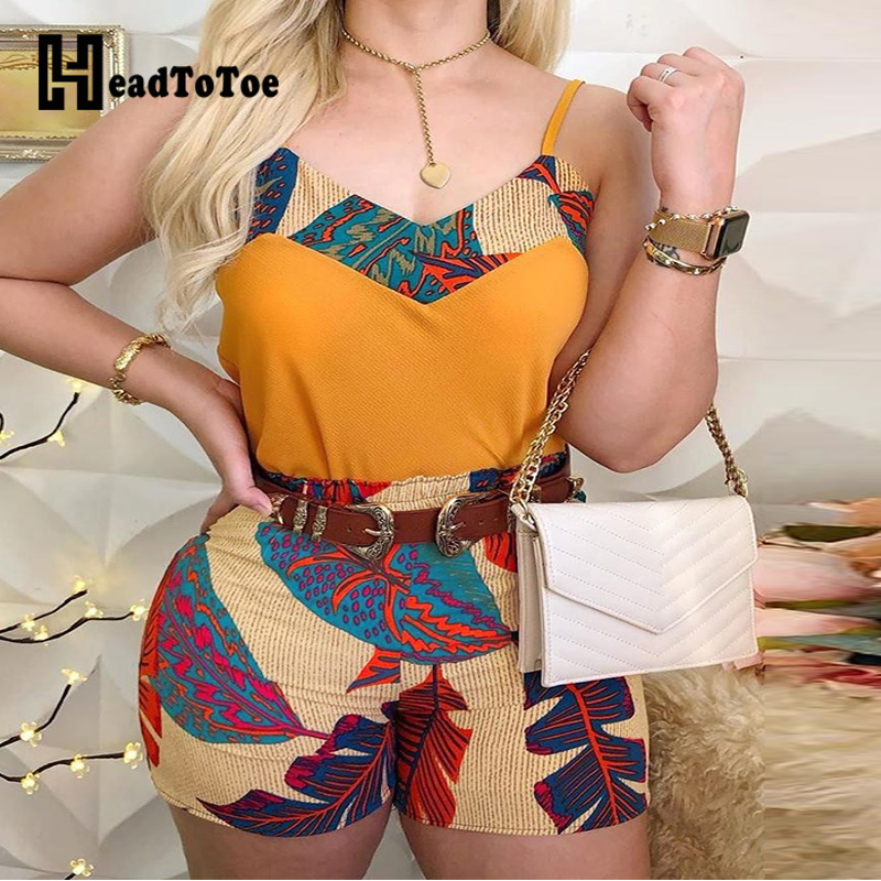 Sexy Ladies Spaghetti Strap Print Tops & Shorts Sets Summer Sleeveless  2 Piece Sets Women Outfits