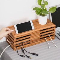 Wooden Wire Storage Box Home Power Cord Cable Storages Safety Socket Socket Board Container Power Board Storage Box