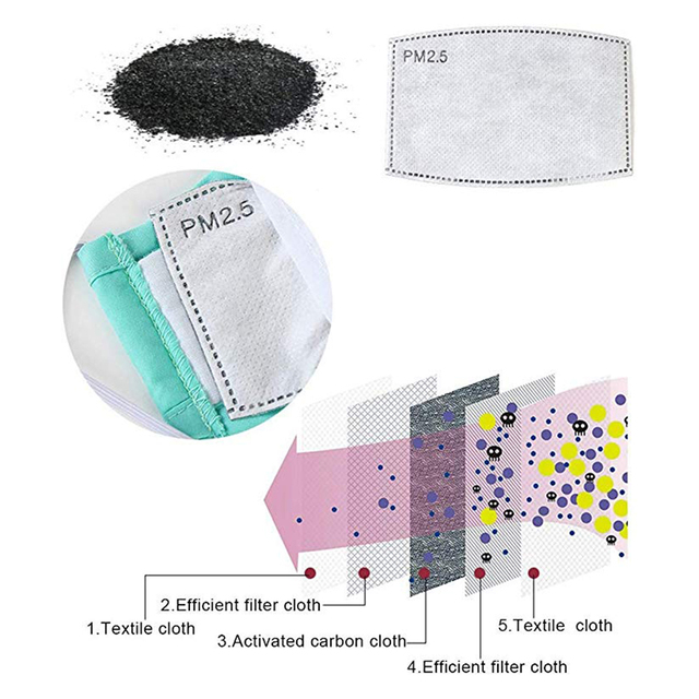 100pcs Mask Filters Anti-Dust mask Activated carbon filter Windproof Mouth-muffle bacteria proof Flu Face masks Care Reusable 3
