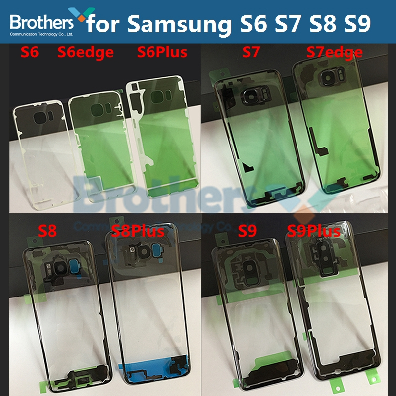 for <font><b>Samsung</b></font> Galaxy S8 S8Plus S9 S9Plus Transparent Battery Housing for S7 S7edge <font><b>S6</b></font> S6edge S6Plus Battery Door with <font><b>Camera</b></font> <font><b>Glass</b></font> image