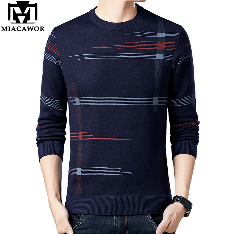 MIACAWOR New Sweater Men Fleece Warm Pullover Men Winter Knitted Jersey Hombre Casual Plaid Pull Homme Men Clothes Y245