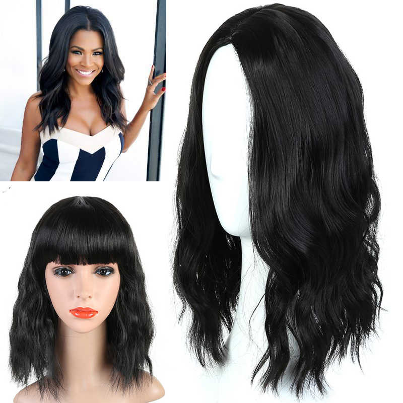 Short black pink Dark Brown/Blonde/Light Gray Curly Celebrity Lolita Party  Synthetic Wig+Cap Heat Resistant  fiber