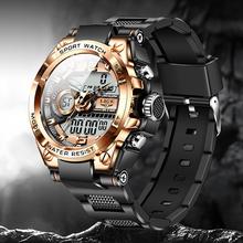 2021 LIGE sportowe zegarki męskie kreatywny kwarcowy cyfrowy zegarek do nurkowania mężczyźni 50M wodoodporny Alarm zegarek z podwójnym wyświetlaczem Relogio Masculino tanie tanio 24cm QUARTZ Podwójny Wyświetlacz 5Bar Klamra CN (pochodzenie) STAINLESS STEEL 17mm Hardlex Kwarcowe Zegarki Na Rękę