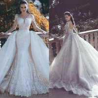 African Luxury Lace Mermaid Wedding Dresses 2021 Illusion Neck Long Sleeve Detachable Train Appliques Beads Bridal Gowns Arabric