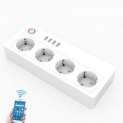 Ue wtyczka inteligentne gniazdo WiFi 16A inteligentna listwa zasilająca 4 gniazda 4 USB Tuya Smart życie App sterowania praca z Google Home alexa IFTTT