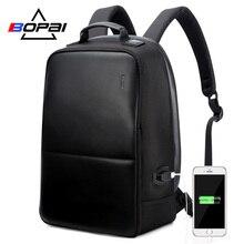 BOPAI משולב USB תשלום אנטי גניבה Mens תרמיל עמיד למים תרמיל מחשב נייד 15.6 אינץ עבור נער בית ספר נסיעות תרמיל