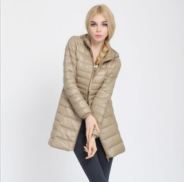 Fitaylor Autumn Winter Women Ultra Light Duck Down Coat Hooded Jackets Slim Medium Long Plus Size Parkas Thickness Overcoat 5
