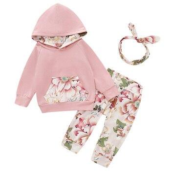 Baby Girl Clothes Set Floral Print Sweatshirt Hoodie And Long Pants Headband Winter Cute kids 3pcs Suit Clothes Newborn D30 цена 2017