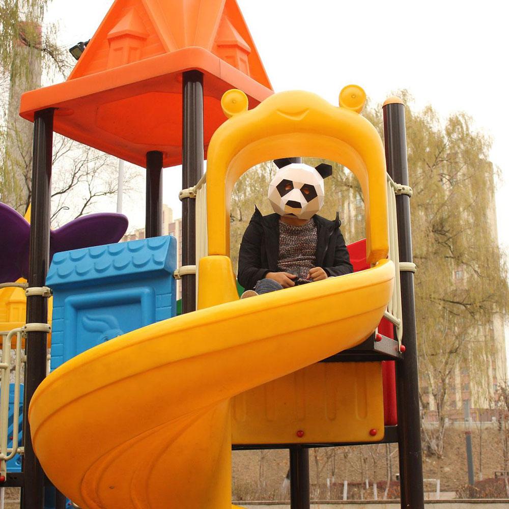 Cosplay Masks Panda Bear Costume Ball Hood 3D Paper Model DIY Cartoon Handmade Children's Educational Toys Apr9