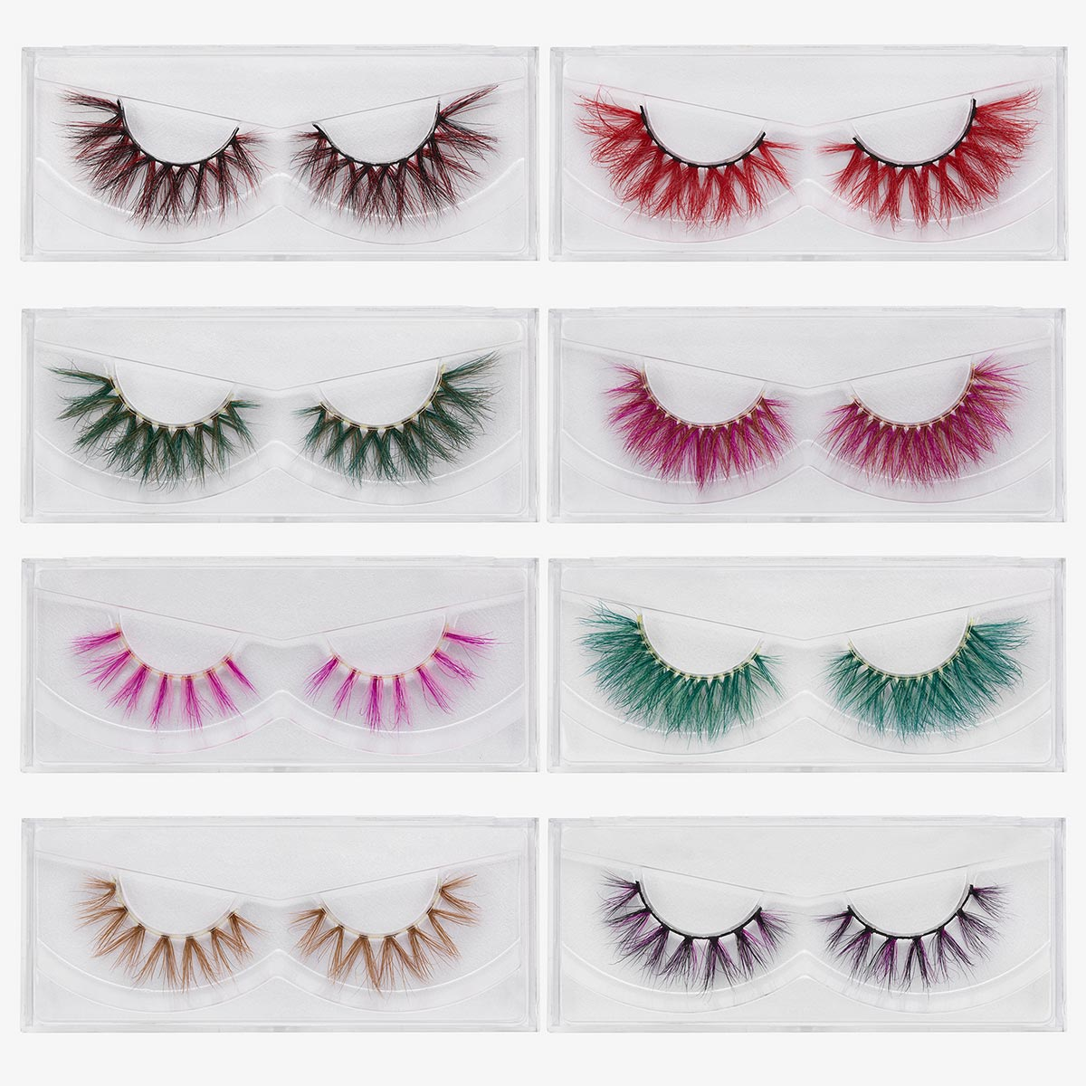 New Color 3D Luxury Mink Lashes  Natural Long Individual Thick Fluffy Colorful False Eyelashes Makeup Extension Tools