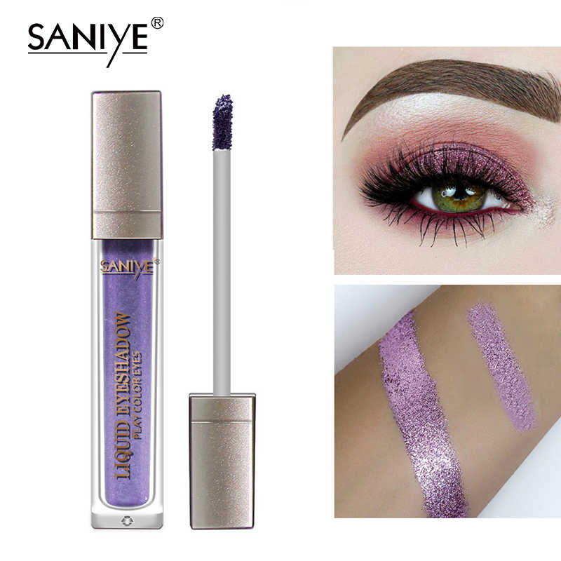Saniye Glitter Liquid Eyeshadow Glitter Eye Shadow Tahan Lama Mata Pesta Kosmetik 12 Warna Eyeshadow Ungu R1120A