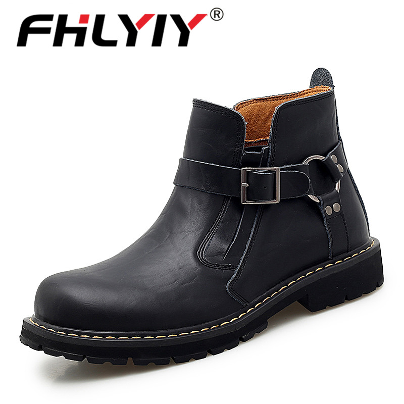 Fhlyiy Brand Autumn Winter Men Genuine Leather Boots Fashion Motorcycle Shoes Men Cow Leather Ankle Boots Cool Shoes Size 46