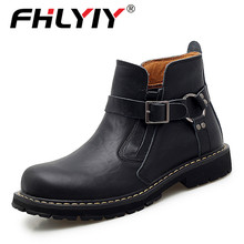 Fhlyiy Brand Autumn Winter Men Genuine Leather Boots Fashion Motorcycle Shoes Me