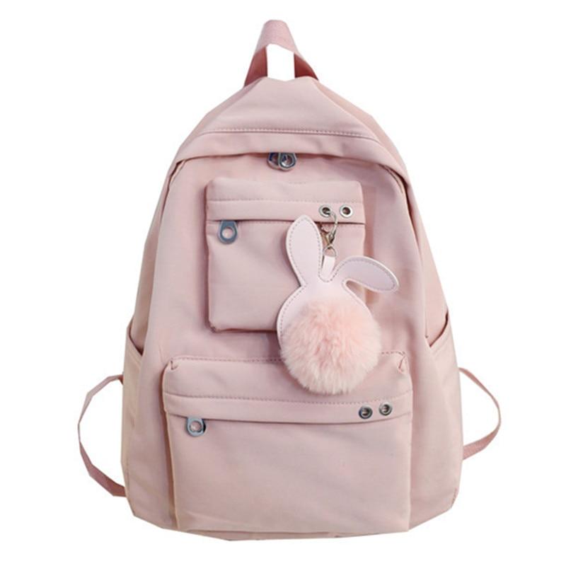 Fashion Teen School Bags For Girls Teenagers Girls Backpack Women Schoolbag Waterproof Nylon Solid Student Bookbag 2019 Mochilas