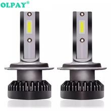 цена на OLPAY 2PCS H7 LED 12000LM/PAIR Mini Car Headlight Bulbs H4 LED H1 H8 H9 H11 Headlamps Kit 9006 HB4 9005 HB3 9012 Auto LED Lamps