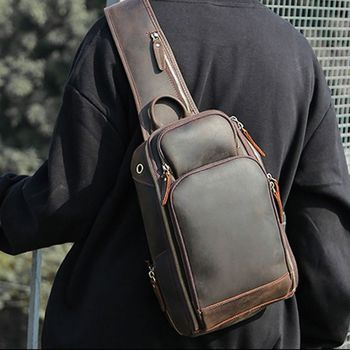 Vintage Men Leather Chest Sling Bag Casual USB Charging Shoulder Sports Crossbody Bags F42A