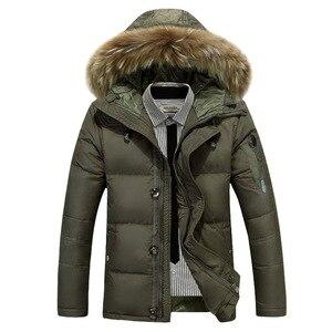 Image 4 - Chaqueta de plumón de invierno para hombre, chaqueta de pluma de pato de invierno con capucha de piel gruesa y cálida para hombre, ropa de marca Doudoune