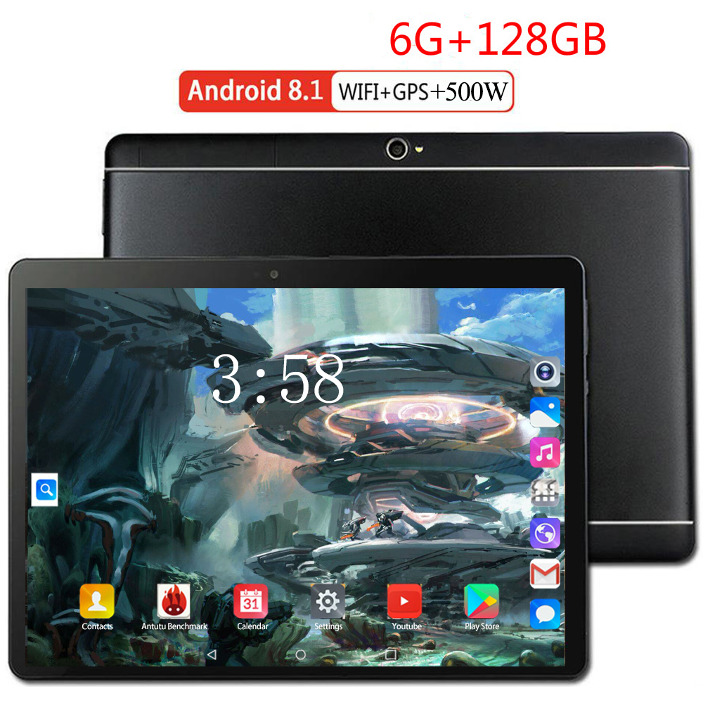 YAHU 10.1 Inch Official Original 4G LTE Phone Call Google Android 8.0 MT6753 Octa 8 Core IPS Tablet WiFi 6GB + 128GB Tablet Pc