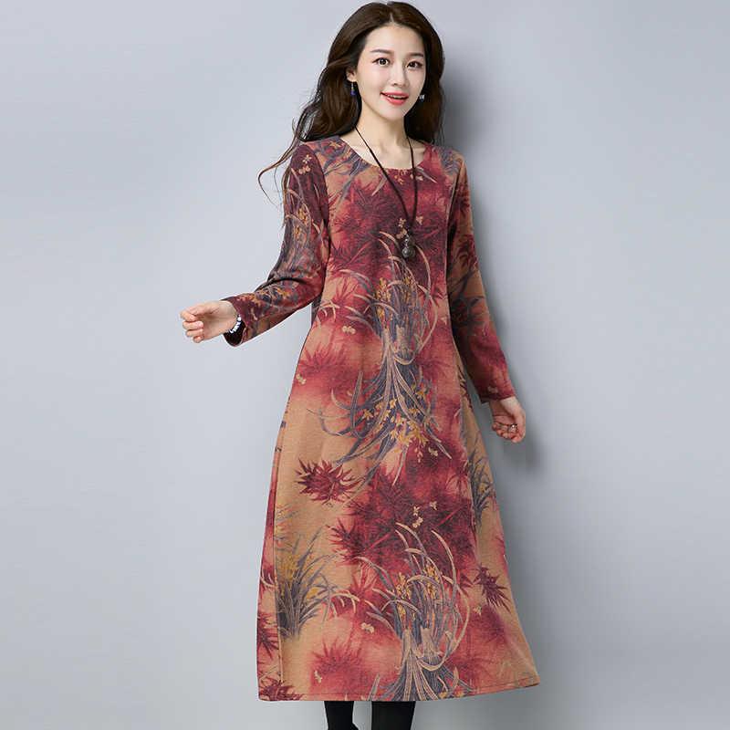 2020 Women's Red Woolen Dress Female Turtleneck Thick Autumn Winter Print Vintage Dresses Casual Loose Vestidos WXF542